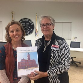 Tammy Ogden, Deputy County Administrator for Finance, showed me the hard copy of the entire county budget (about three reams of paper!) after the County Board Meeting.