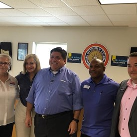 Enjoyed visiting briefly with #JBPritzker4IL on his stop at #IBEW601 to meet with local Democratic candidates, unions and the general public.