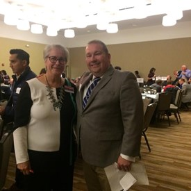 Enjoying good conversation with other Democratic candidates and supporters , including Senator Scott Bennett, at the Annual Fall Dinner at the I-Hotel.