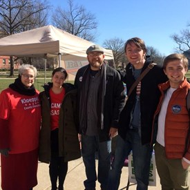 On the Quad with other candidate teams, encouraging U of I students to vote before spring break... several were interested in the new Office of County Executive and learning about local politics in general, and I had fun talking with those who stopped to get info.