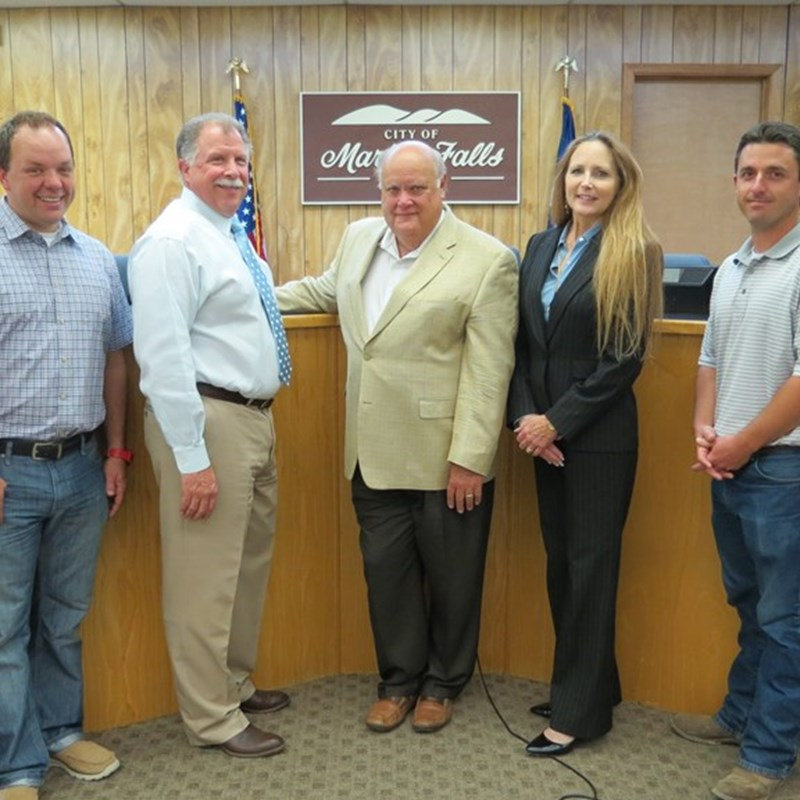 Marble Falls City Council 2014; Butch Kemper, Richard Lewis, Raymond Whitman, George Russell, Jane Marie Hurst, Ryan Nash & Reed Norman