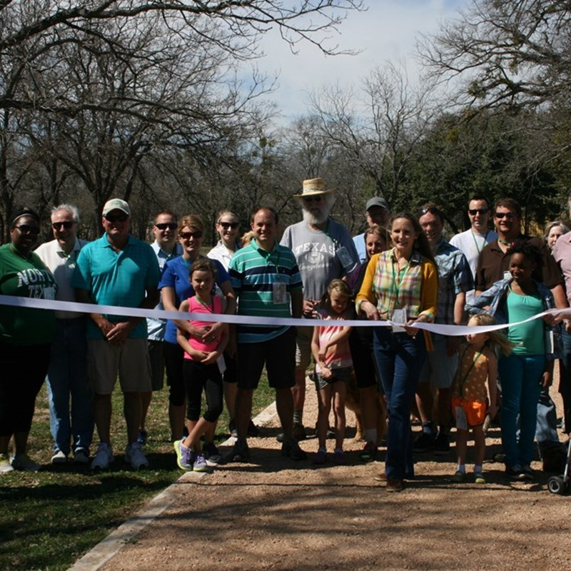 Marble Falls parks dept. ribbon cutting of the extension of the hike & bike trail from Johnson Park to Westside park