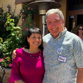 Jenny with supporter Tony Russomanno, Vice Chair at Santa Cruz County Democratic Party