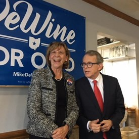 Mike and Fran DeWine at Campus Polleyes in Bowling Green, good crowd and as usual the food was great.