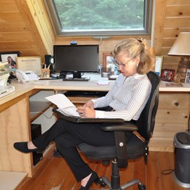 Working at her home office.
