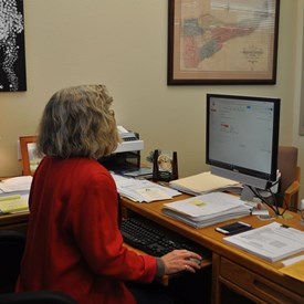 Working at her office in Jackson.