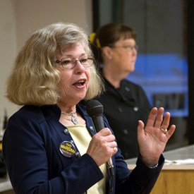 Lynn speaks to supporters at a campaign fund-raiser on February 11.