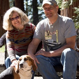 Some fun photos with husband Pat dogs.