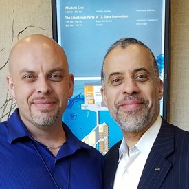 With Larry Sharpe, Libertarian candidate for Governor of New York, at the Texas Libertarian Convention.