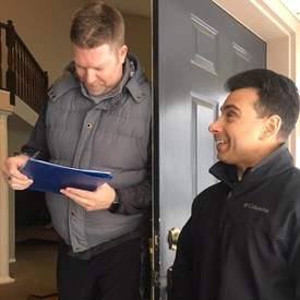 Dean getting campaign signatures during Noreaster 3-7-18. Campaign like a Marine!