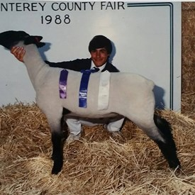 Bill Polyniak showing a lamb during 11 grade in high school. Bill was a member of the Salinas High school FFA.
