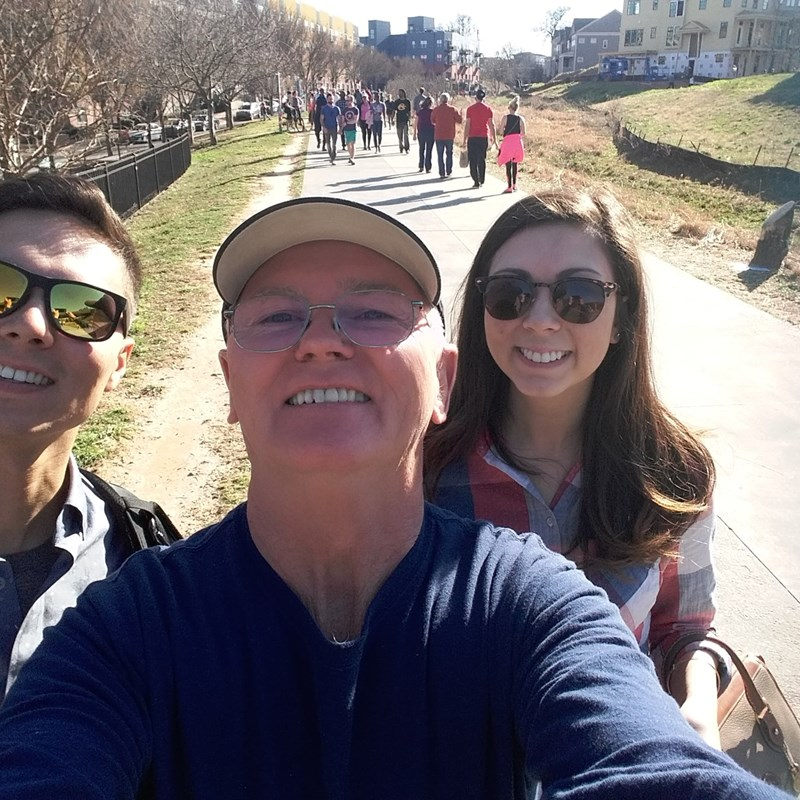 Enjoying the Atlanta Beltline with my son and daughter.