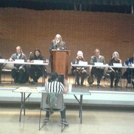 Second from right, at the Non-Corporate Candidate Forum hosted by the South Bay Progressive Alliance.