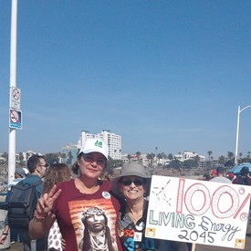 With fellow So Cal 350, climate action member at a coalition rally to say NO to threats to reinstate offshore drilling on the California coast.