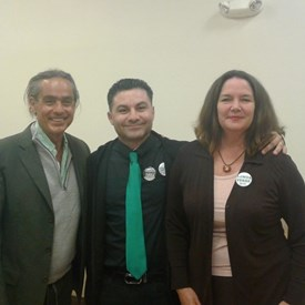 With fellow Green Party candidates Mike Feinstein and Miguel Zuniga at the Non-Corporate Candidate Forum organized by So. Bay Progressive Alliance.