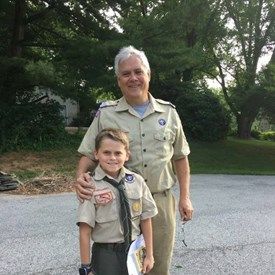 Dr. Wright has been a volunteer for Boyscouts of America for years.  Here he is pictured with his nephew Brady, before heading to Scout Camp last summer. Brady's Dad was serving in Kabul, Afghanistan at the time.