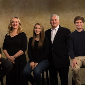 Dr. Wright and his family.  Picutred, left to right:  daughter Julia, wife Karen, daughter Rosemary, Dr. Wright, son Nicholas and daughter-in-law Isabelle.