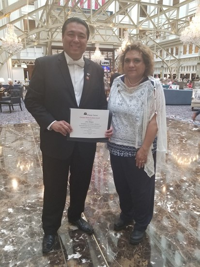 iCAN Media Excellence Award presented to Jesus Marquez, Radio Host and Political Policy Adviser to the POTUS, National Hispanic Advisory Board. Award presented by Chief Latin Adviser of the Hispanic American Division to iChange Nations.