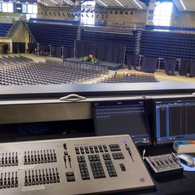 Designing lights for a lecture series at UNCA Kimmel Arena.