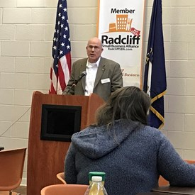 General Iacocca speaking at the Radcliff Small Business Alliance.