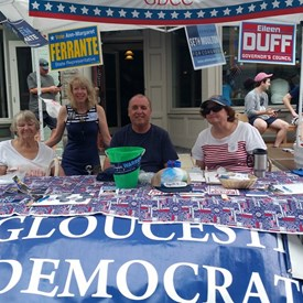 With the Gloucester Democrats at the Gloucester Sidewalk Bazaar on 8/4