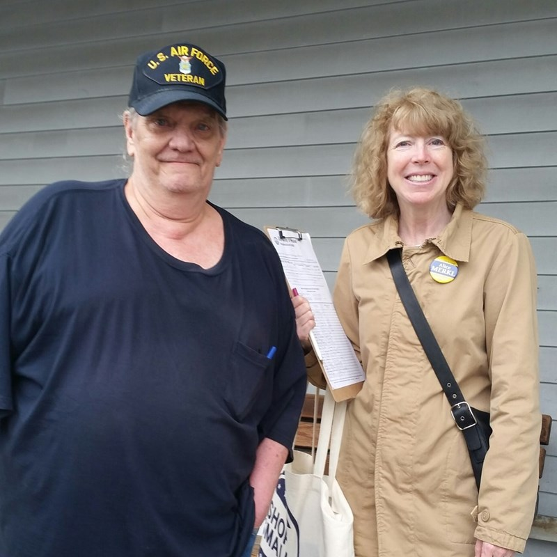 Enjoying collecting signatures and talking with our passionate community members here in Salem!