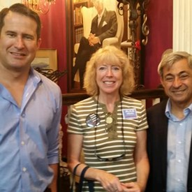 With Congressman Seth Moulton and Rep. Ted Speliotis at Sen. Joan Lovely's event on 8/12