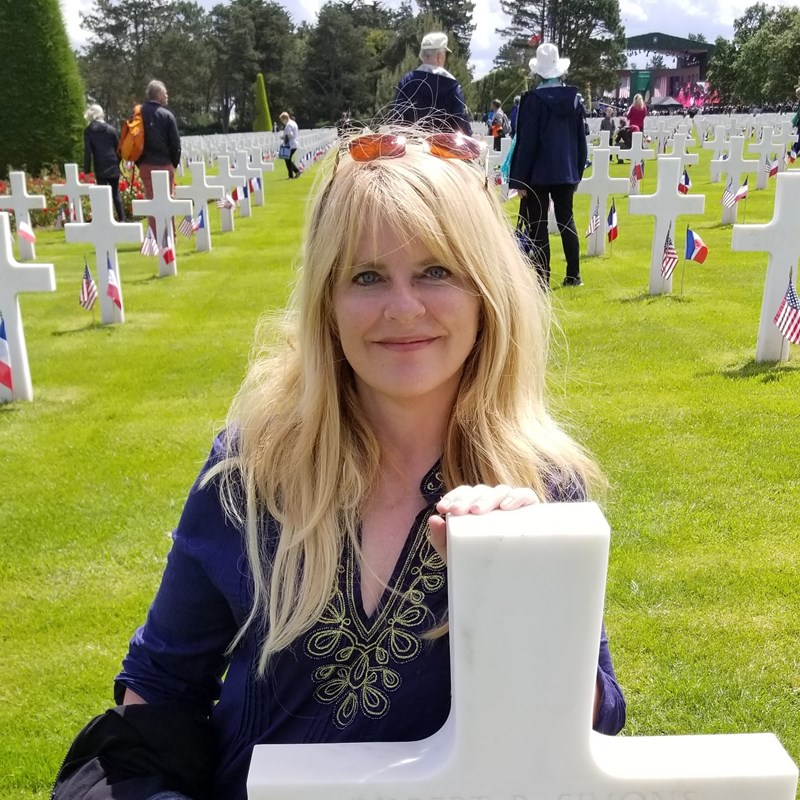 After Trump and Macron spoke , I wandered the American Cemetery (Which is considered U.S land) and found this soldier from Michigan. Then I left my penny behind...