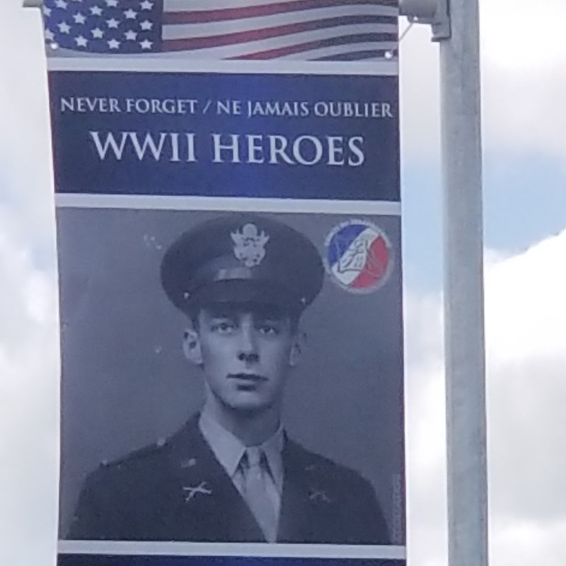 Hundreds of these adorn roads during DDay week. The people have never forgotten. Why don't we honor the men that died for our freedom like this? TV stations are smothered in old footage of the fighting in their towns.  Why don't we remember the Japanese attacked us? The Germans were off the coast of New York. Our trade center was destroyed by invaders yet democrats let them walk across our border now. It makes me cry they don't care about this country. I can't fight for our country in uniform but I can fight for our country in congress.