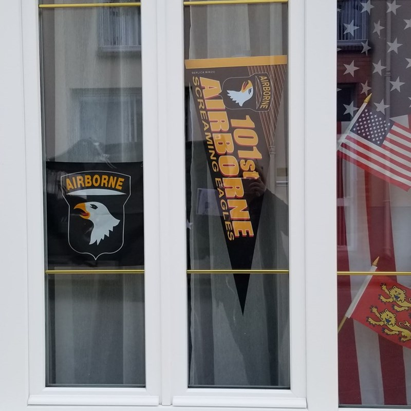 These are in every window in every coastal town or flags from the liberating countries thanking us.