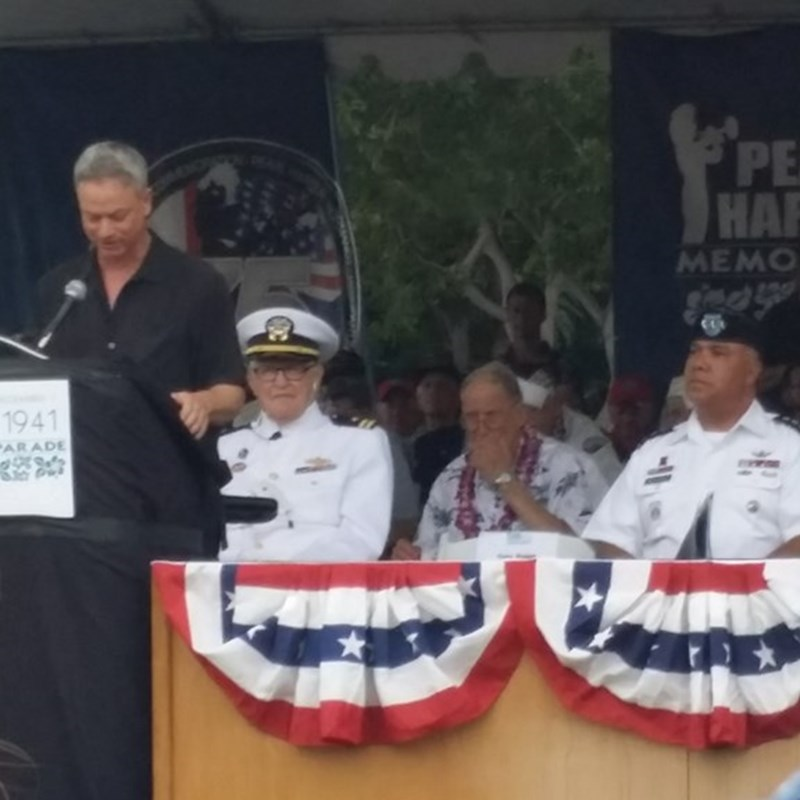 Gary Sinise is always at Pearl Harbor Day as well.