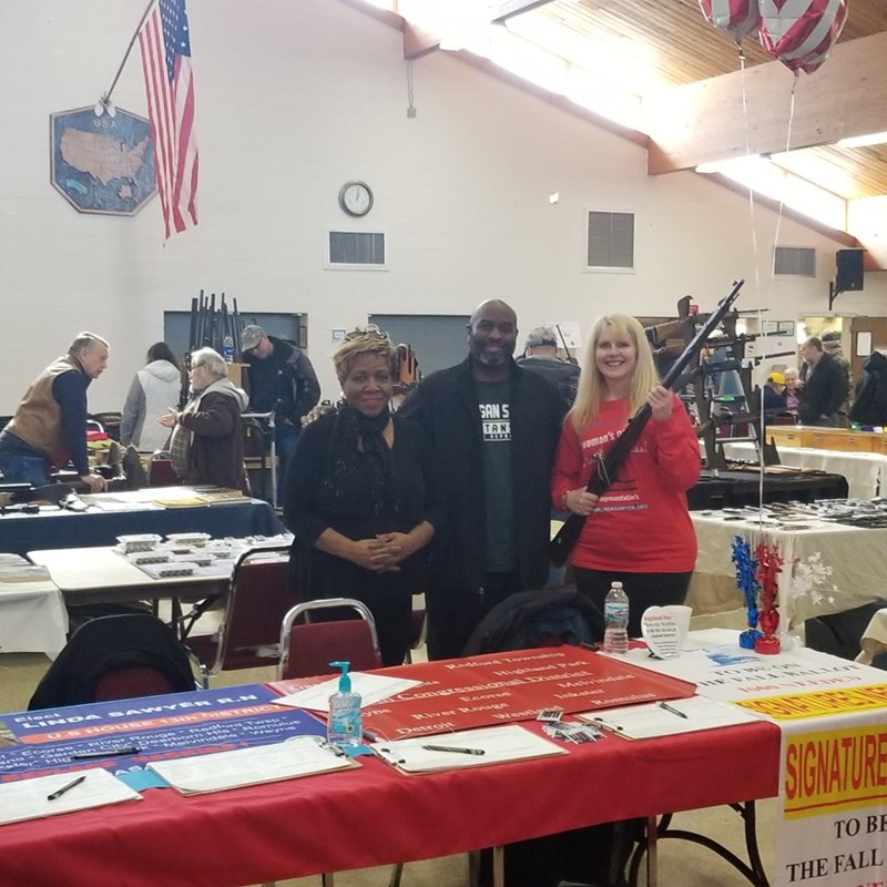 Donzell Green helping gathering signatures at a gun show. A few people took away petitions to help with signatures and so many came from facebook, the show organizer had to put a sign up on the door with different times! Thanks to all that showed. The battle to the ballot continues!