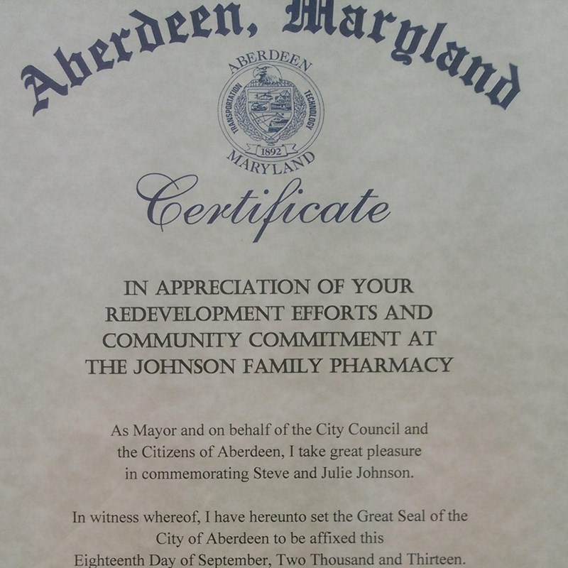 Aberdeen Certificate of Appreciation for redevelopment efforts and community commitment