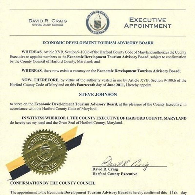 Executive Appointment to the Economic Development Tourism Advisory Board
