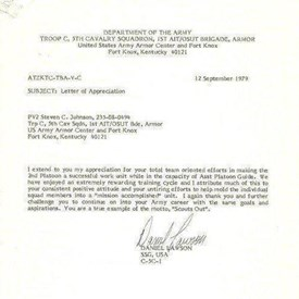Department of the Army; Letter of Appreciation