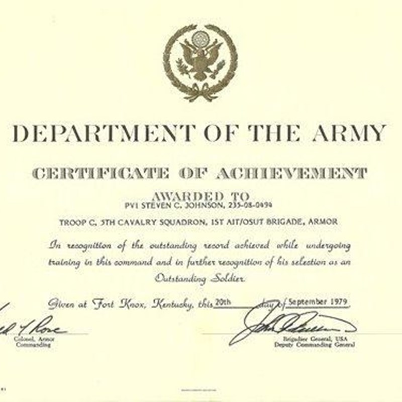 Department of the Army, Certificate of Achievement