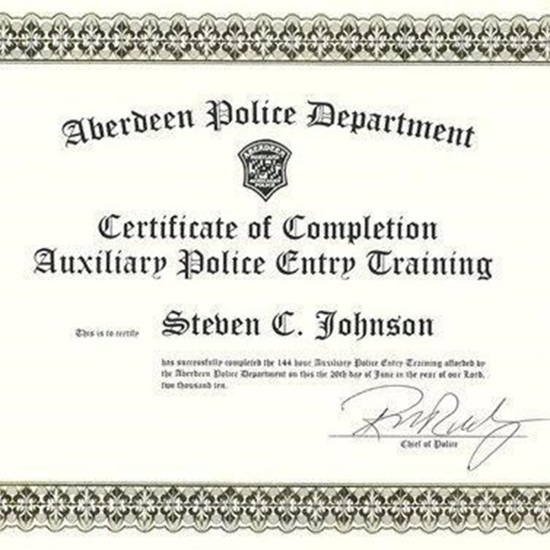 Aberdeen Police Department; Certificate of Auxiliary Police Entry Training