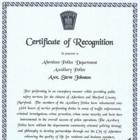 Aberdeen Police Department Auxiliary Police; Certificate of Recognition
