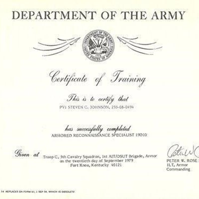 Department of the Army; Certificate of Training