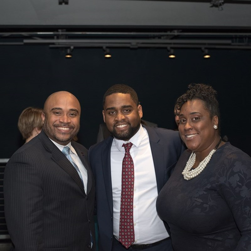 Photographed with Alamance County District Court Judge Larry Brown and Durham County District Court Judge Shamieka Rhinehart