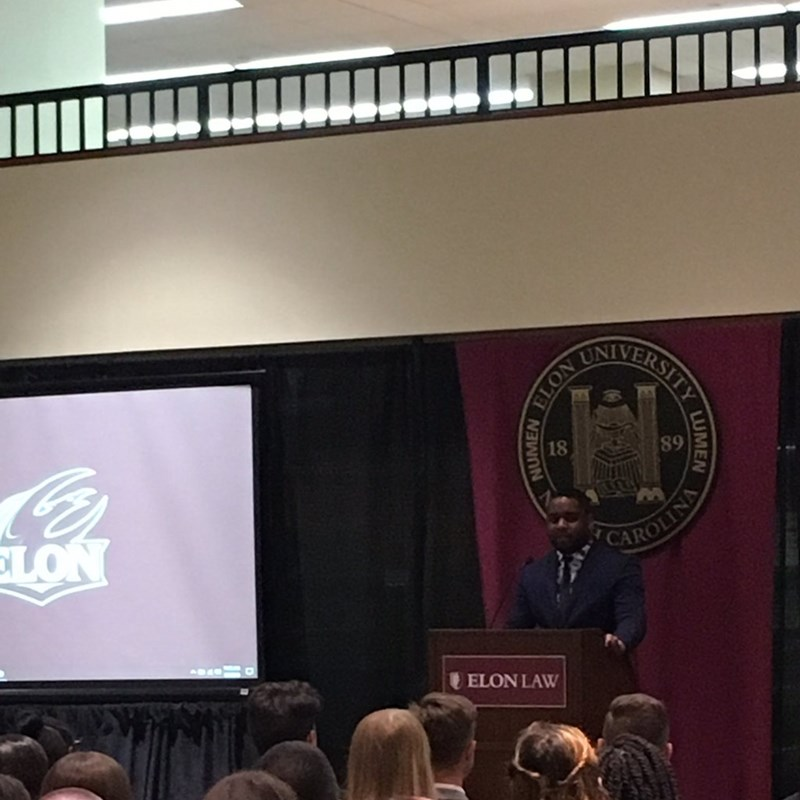 Delivering the Convocation Speech to Elon University, School of Law's incoming Class of 2021. I challenged the students to: (1) Be Ready; (2) Have Respect; (3) and to guard their Reputation!