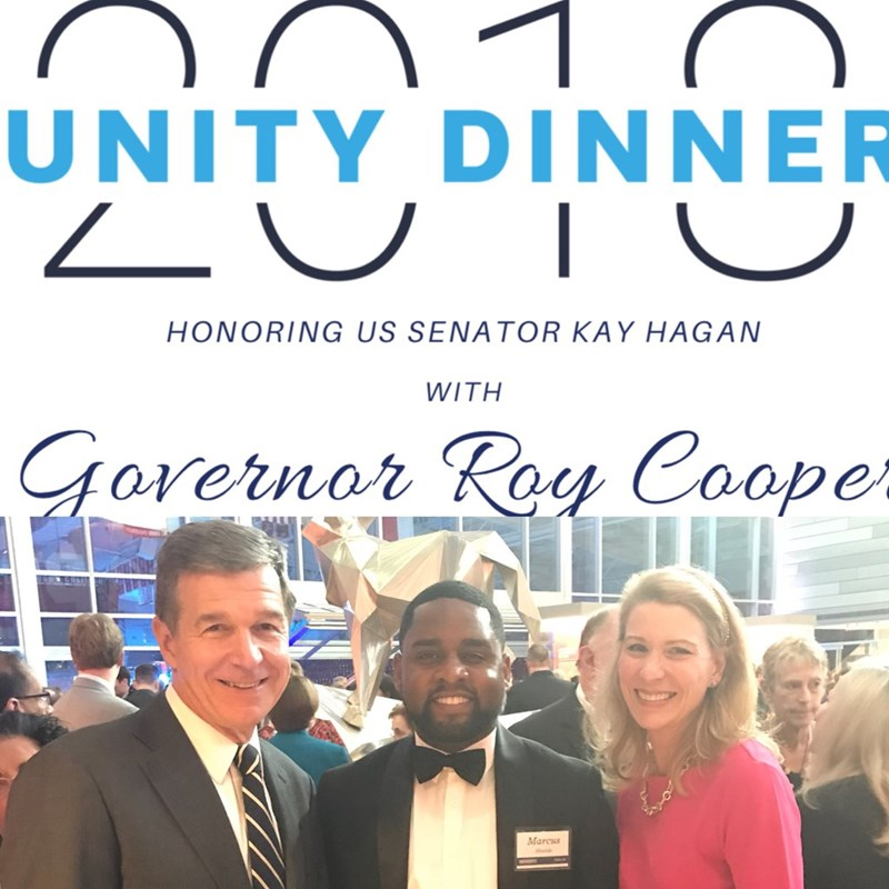 2018 Unity Dinner with Governor Roy Cooper and other excited North Carolina Democrats
