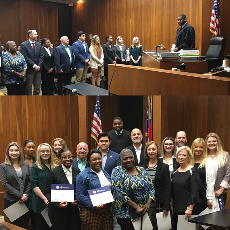 Swearing in The November 2019 New Guardian Ad Litem Class.  This is one of the joys of presiding over DSS Court.