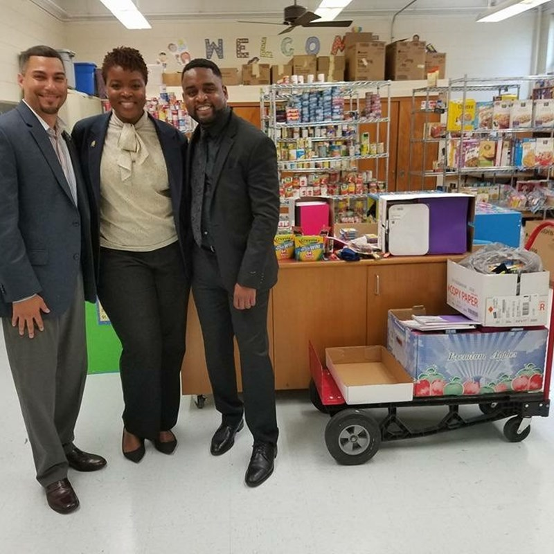 Dropping off school supplies at Wiley Elementary School