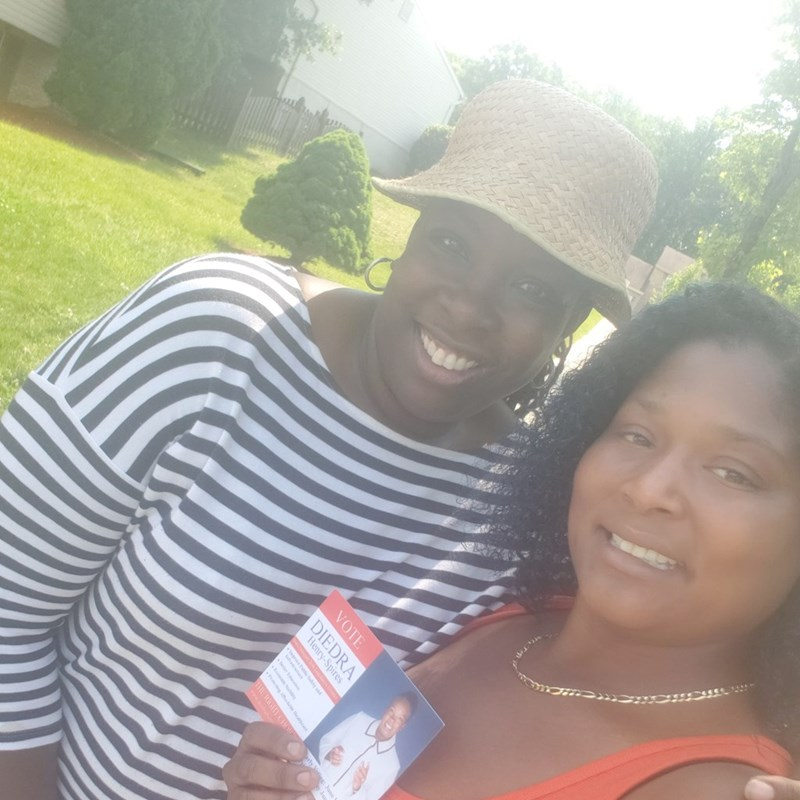 Diedra in with a supporter during doorknocking - Can you guess where?