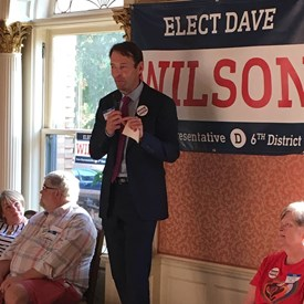 Senator Billig introducing the candidate at Dave Wilson's campaign kickoff.