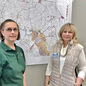 Board Member Sally LaBarre (L) and I review various projects being planned in Harford County. The Friends organization, which I am a member, is dedicated to being a voice for responsible land use in the county.