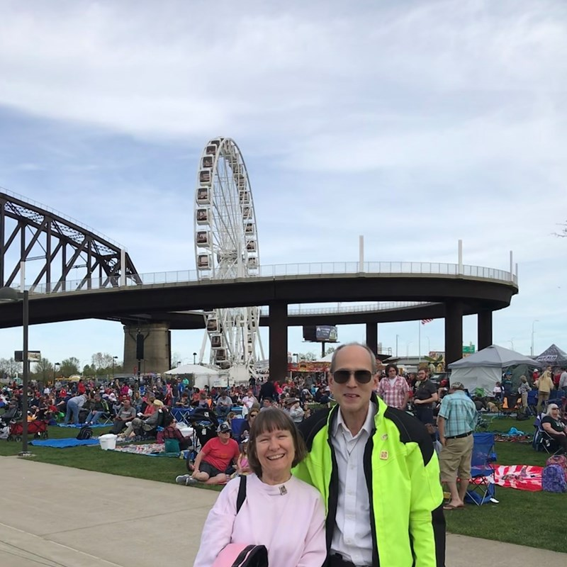 Mike and Patty at Thunder over Louisville near the Big Four Bridge during the Air Show.