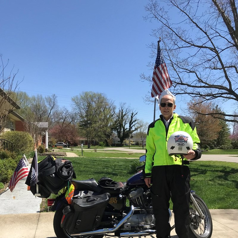 """As stated in his biography, Mike is an avid Harley Davidson motorcycle rider.  Since Mike is a pro-life advocate, his motto is, """"I live to ride and ride for the life of the unborn""""."""