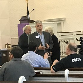 Talking one-on-one with voters and great supporters in Sunderland at the 1st Congressional Church. 13 April 2018